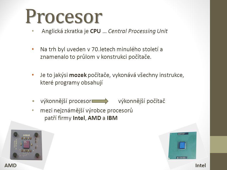 Procesor Anglická zkratka je CPU … Central Processing Unit