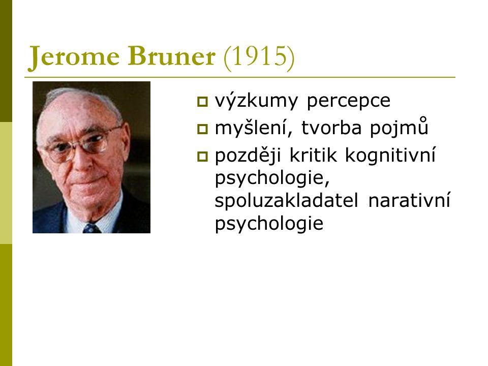 Jerome Bruner (1915) výzkumy percepce myšlení, tvorba pojmů