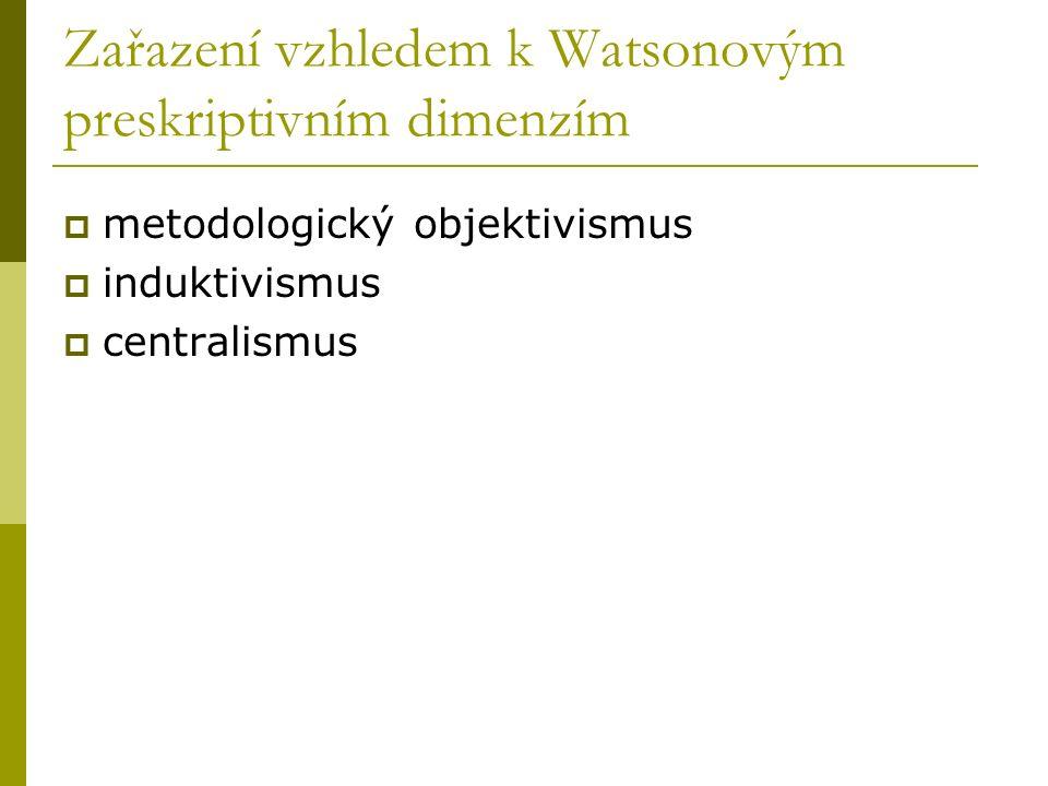 Zařazení vzhledem k Watsonovým preskriptivním dimenzím