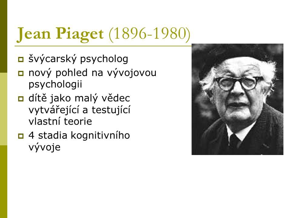 Jean Piaget (1896-1980) švýcarský psycholog