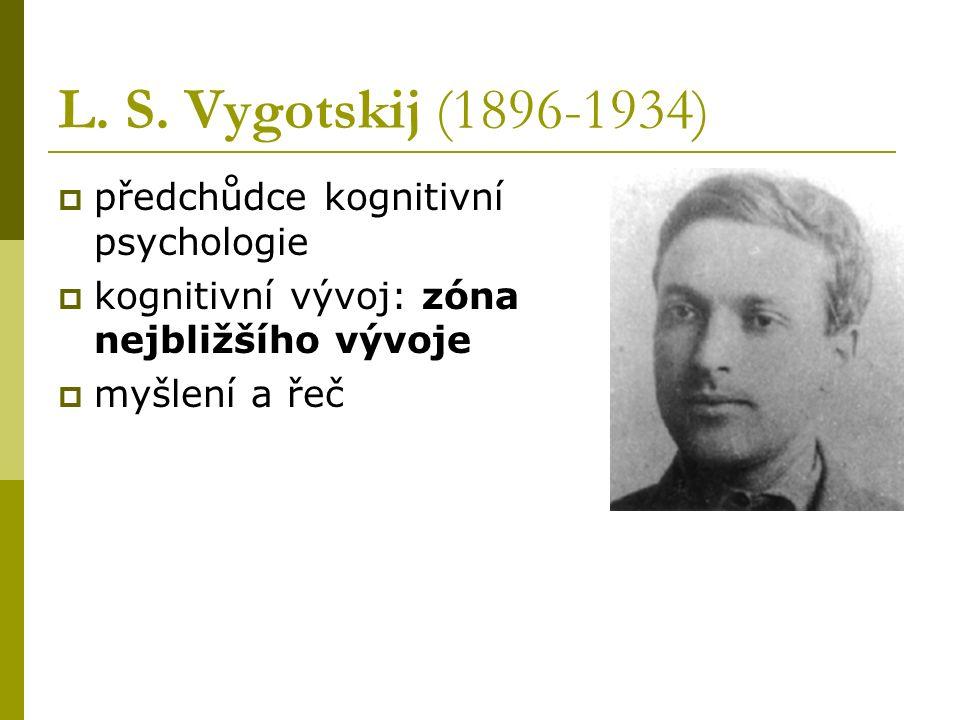 L. S. Vygotskij (1896-1934) předchůdce kognitivní psychologie
