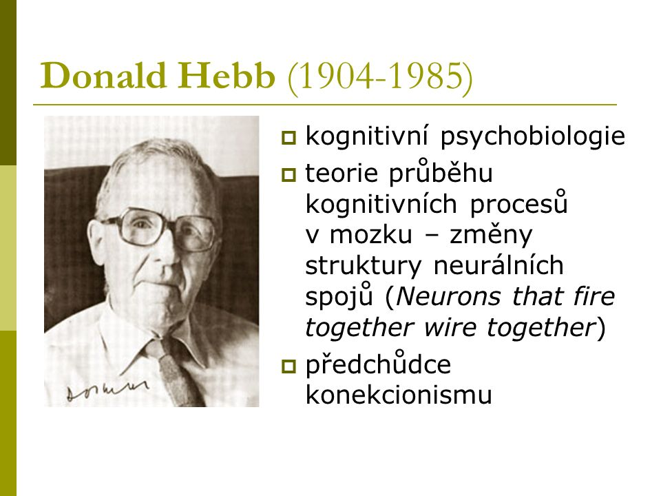 Donald Hebb (1904-1985) kognitivní psychobiologie