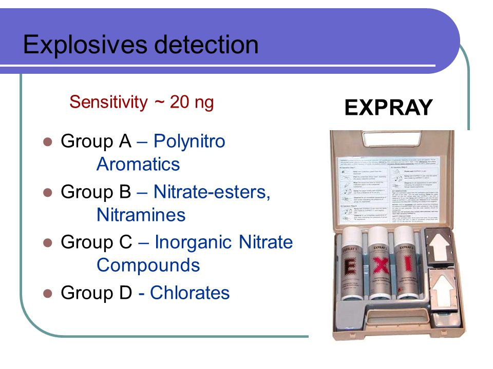 Explosives detection EXPRAY Group A – Polynitro Aromatics