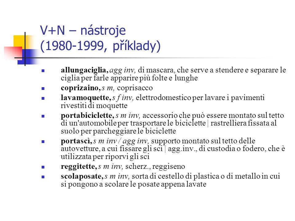 V+N – nástroje (1980-1999, příklady)