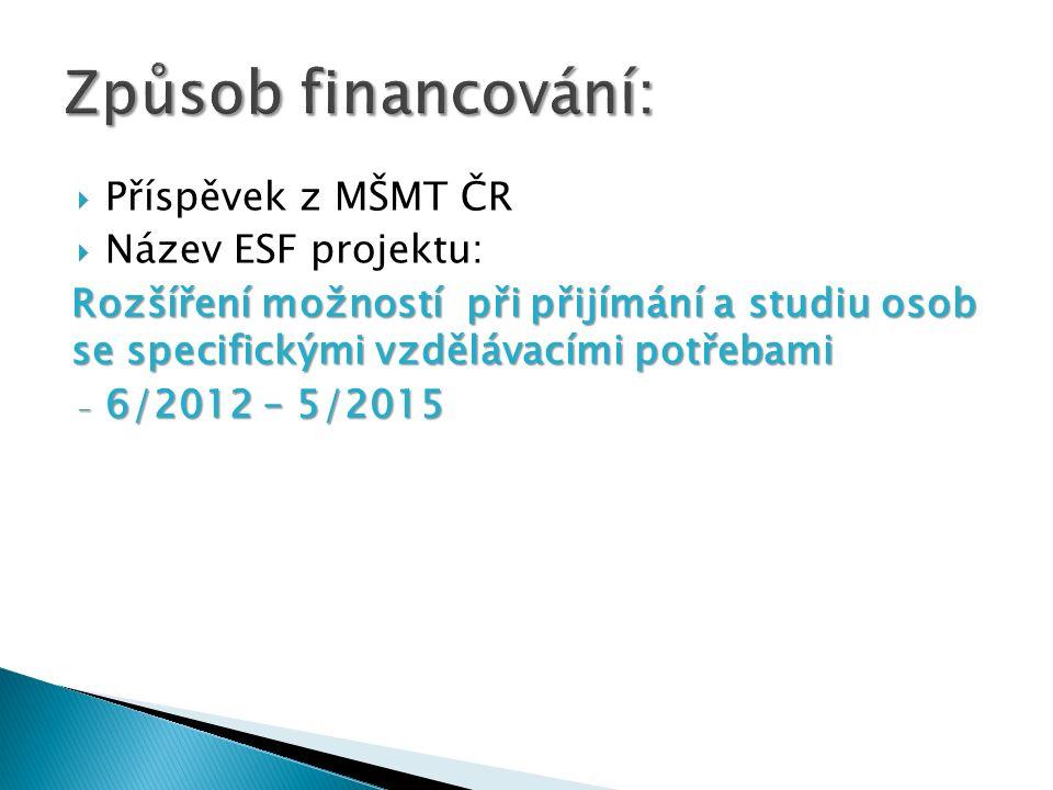 Způsob financování: Příspěvek z MŠMT ČR Název ESF projektu: