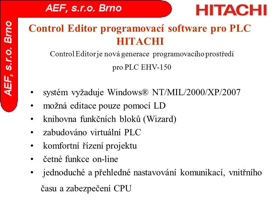 Control Editor programovací software pro PLC HITACHI