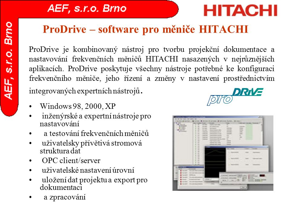 ProDrive – software pro měniče HITACHI