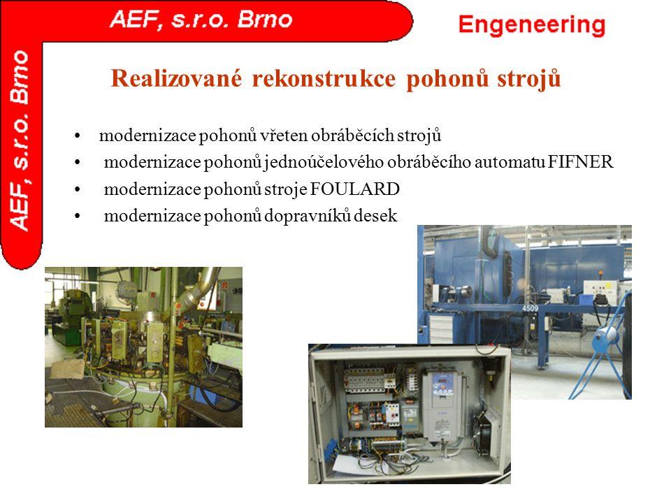 Realizované rekonstrukce pohonů strojů