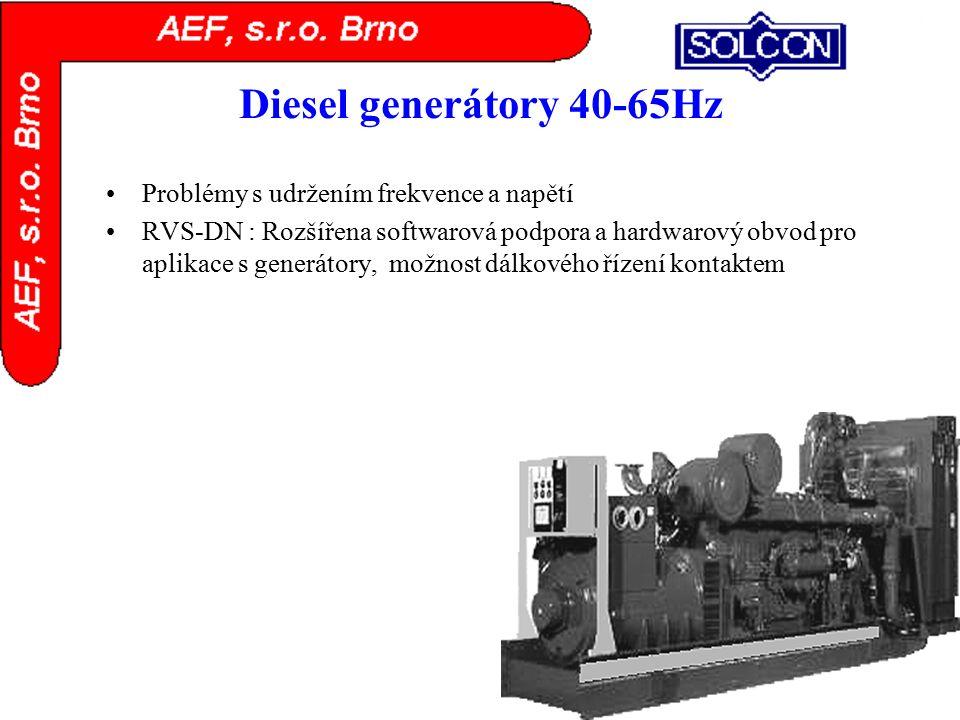 Diesel generátory 40-65Hz Problémy s udržením frekvence a napětí