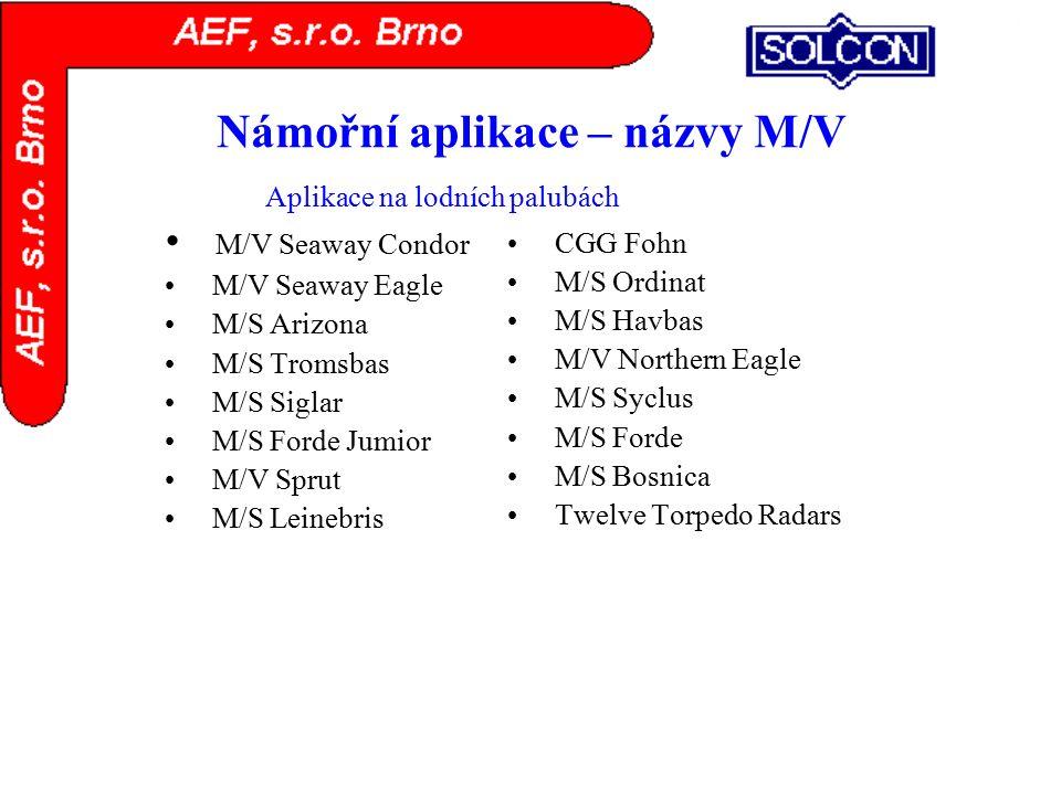 Námořní aplikace – názvy M/V