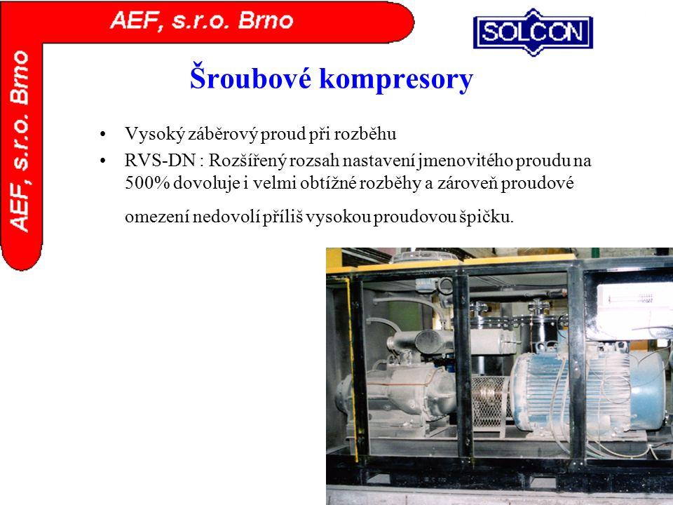 Šroubové kompresory Vysoký záběrový proud při rozběhu