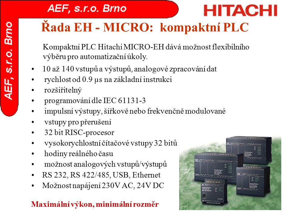 Řada EH - MICRO: kompaktní PLC