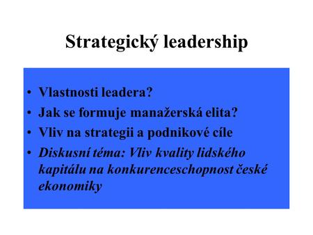 Strategický leadership