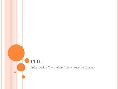 ITIL Information Technology Infrastructure Library.