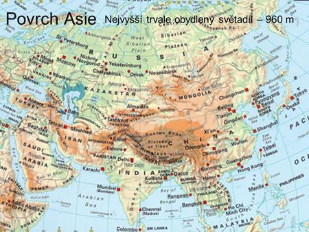 Mapa Asie Mapa Povrch