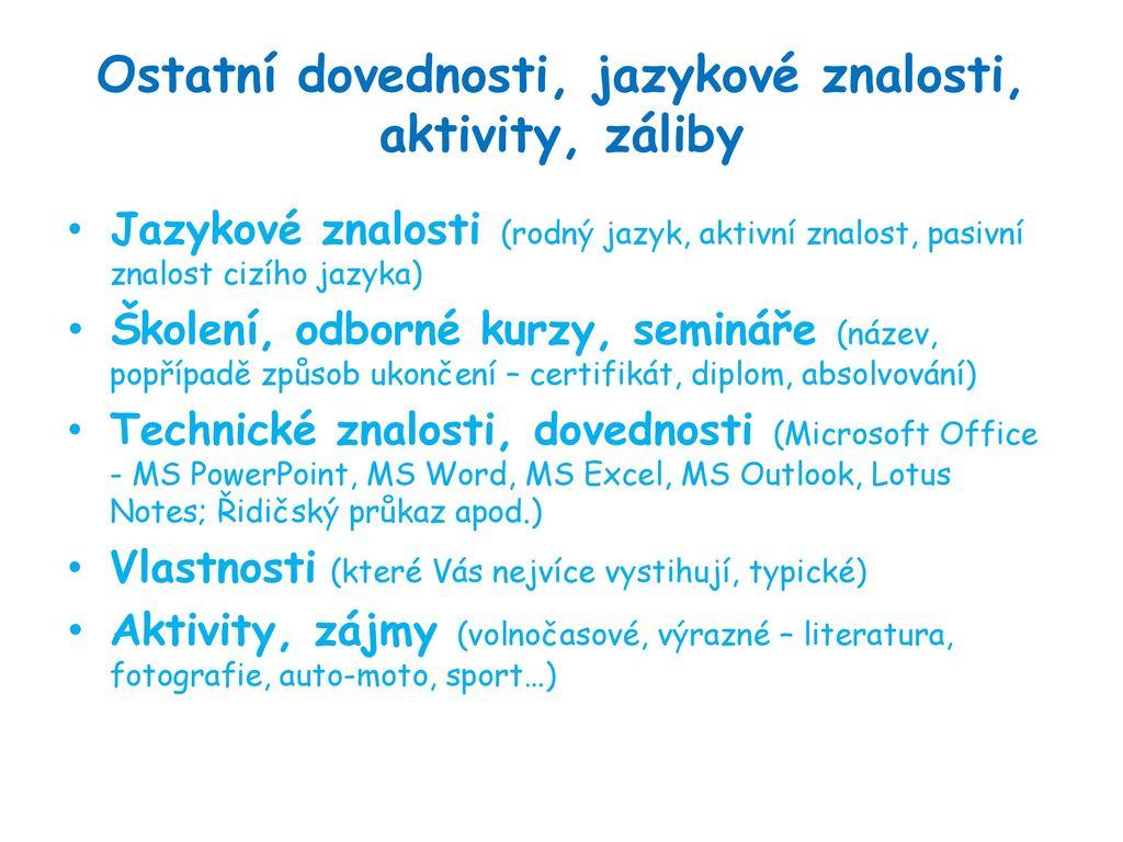 Curriculum Vitae Zivotopis Ppt Stahnout