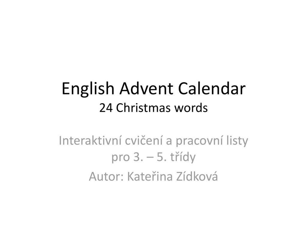 English Advent Calendar 24 Christmas Words Ppt Stahnout