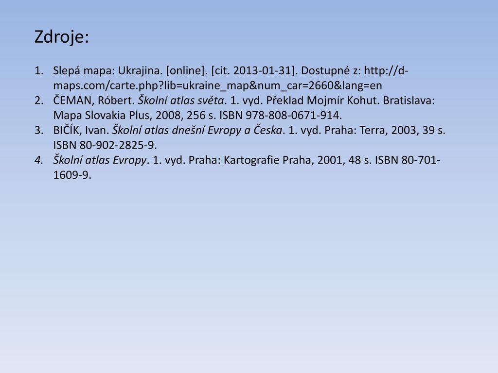 Vyznamna Pohori Ukrajiny Interaktivni Slepa Mapa Ppt Stahnout