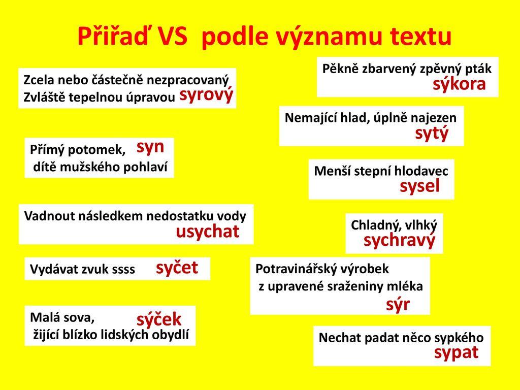 Metodicky List Vyjmenovana Slova Po S 2 Cast Ppt Stahnout