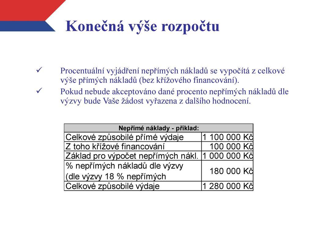 494e88bbdda6 Konečná výše rozpočtu Procentuální vyjádření nepřímých nákladů se vypočítá  z celkové výše přímých nákladů (bez