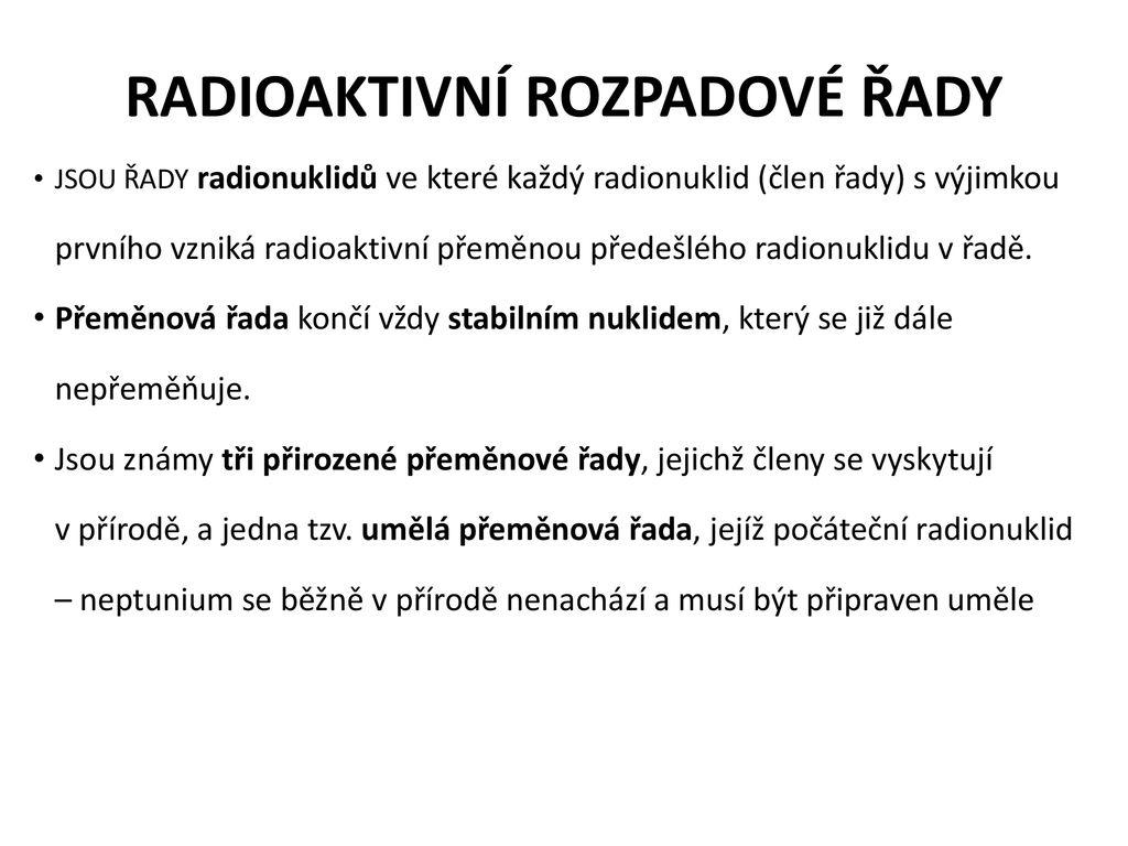 Běžné radioaktivní datovací prvky
