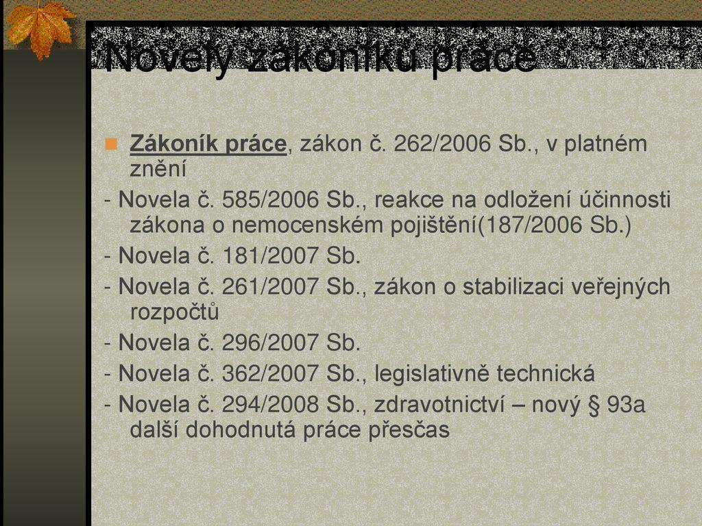 dfa21323472 Novely zákoníku práce Zákoník práce