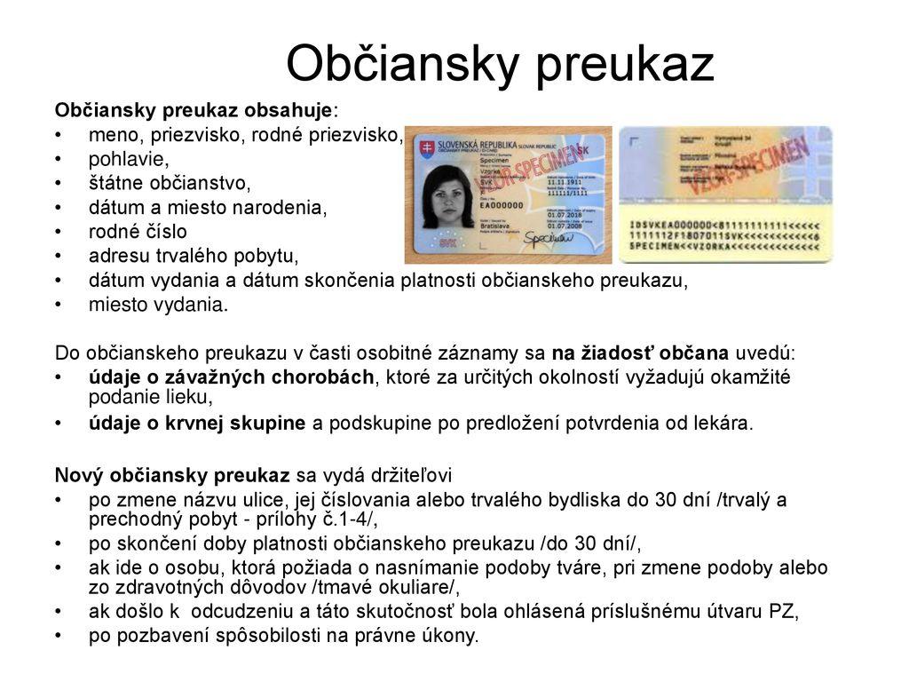 93a03d398 Obsah: Čo by mal občan vedieť Doklady občana - ppt stáhnout
