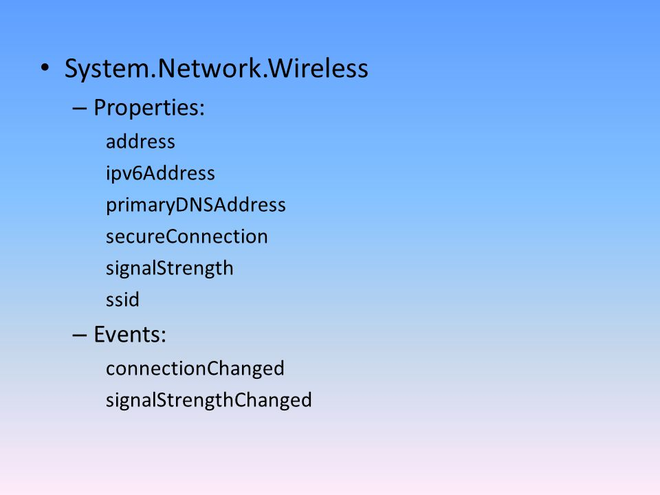 System.Network.Wireless