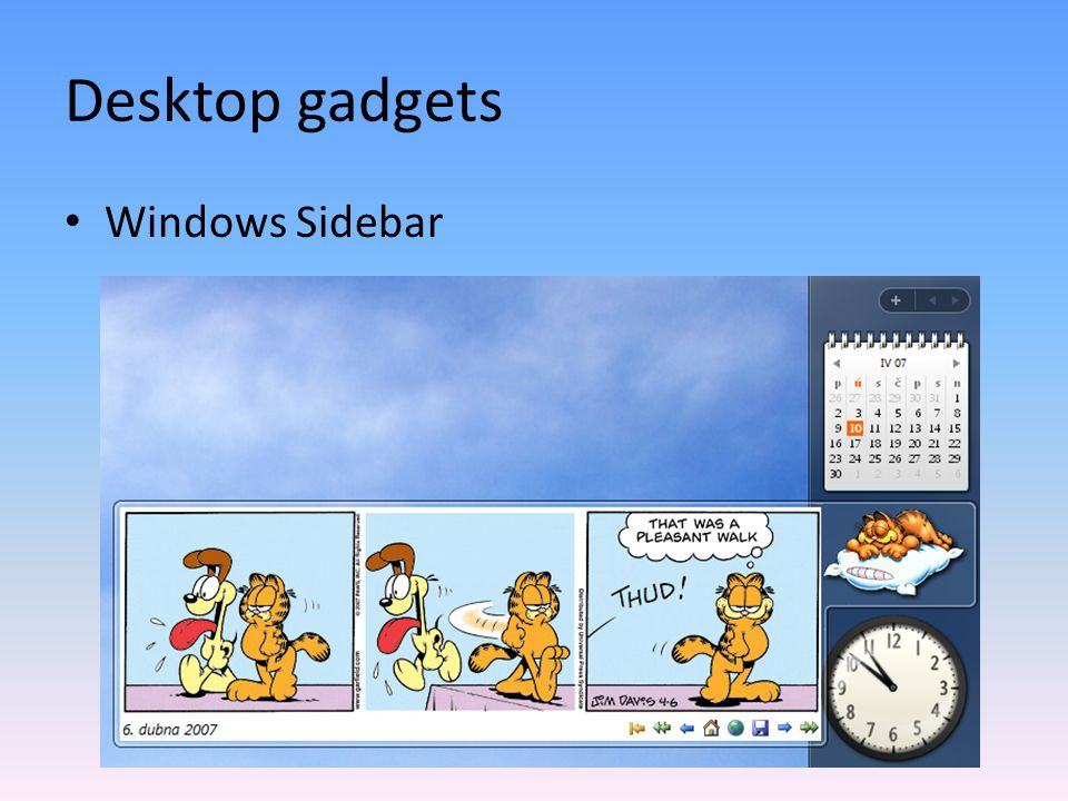 Desktop gadgets Windows Sidebar