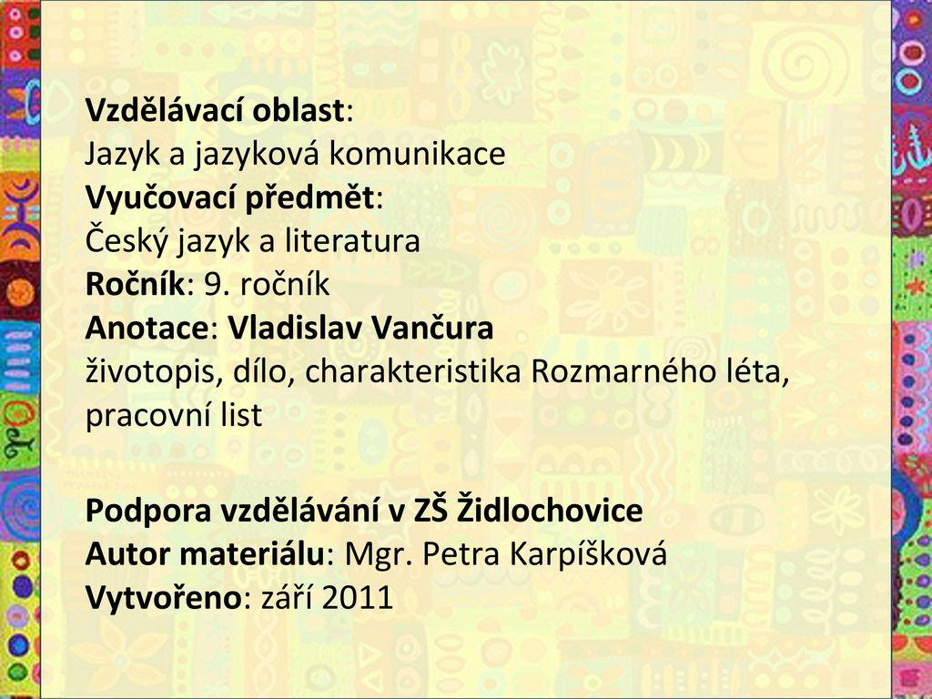 Vzdelavaci Oblast Jazyk A Jazykova Komunikace Vyucovaci Predmet