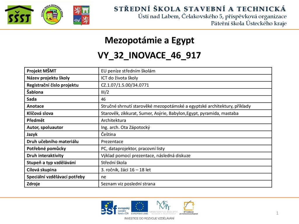 Mezopotamie A Egypt Vy 32 Inovace 46 Ppt Stahnout