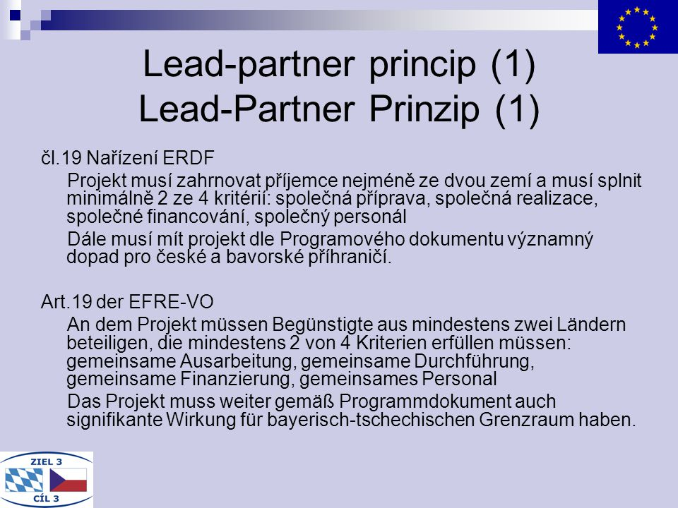 Lead-partner princip (1) Lead-Partner Prinzip (1)