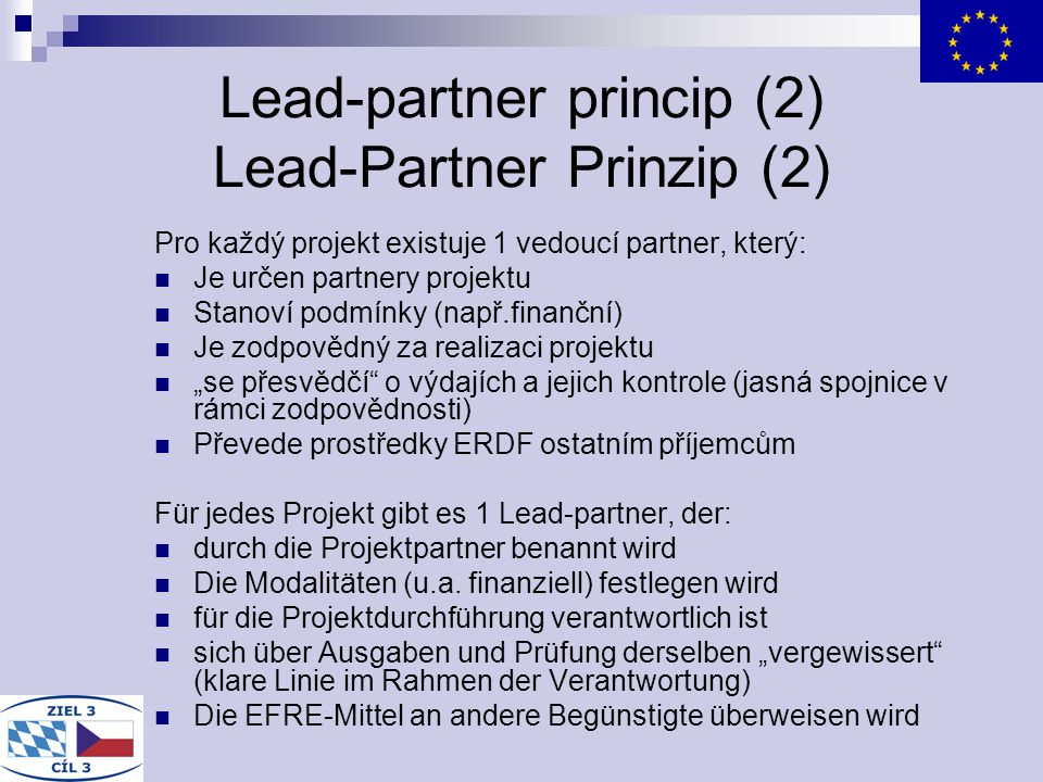 Lead-partner princip (2) Lead-Partner Prinzip (2)