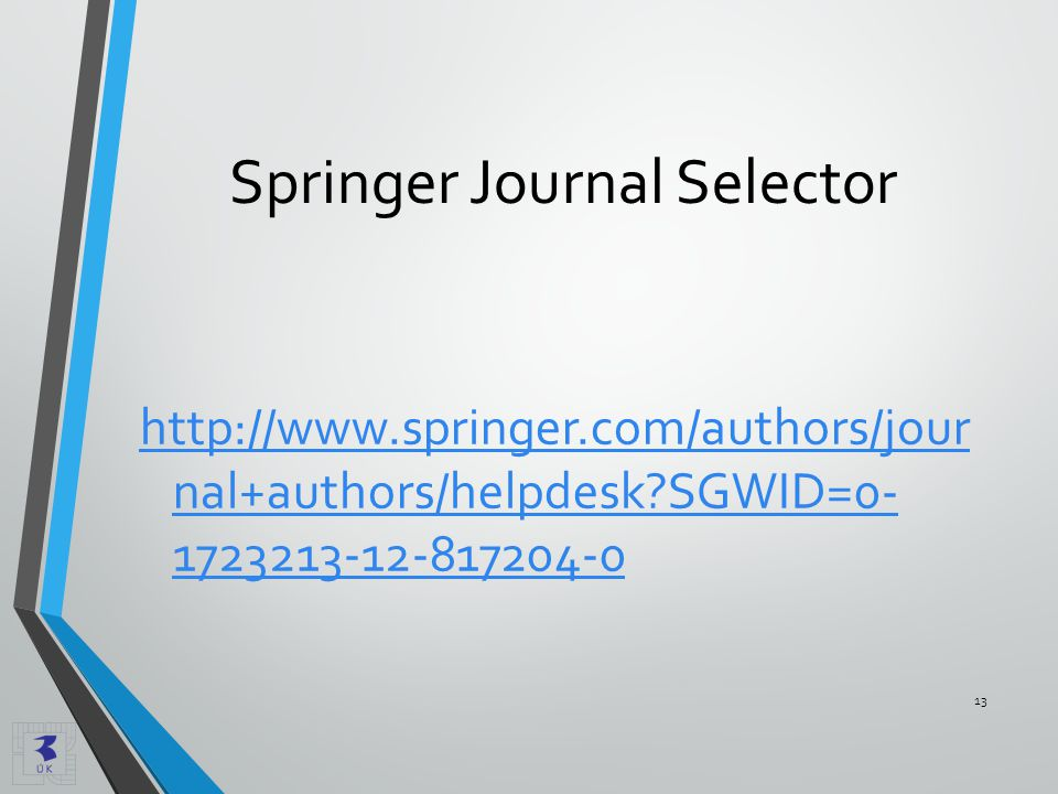 Springer Journal Selector