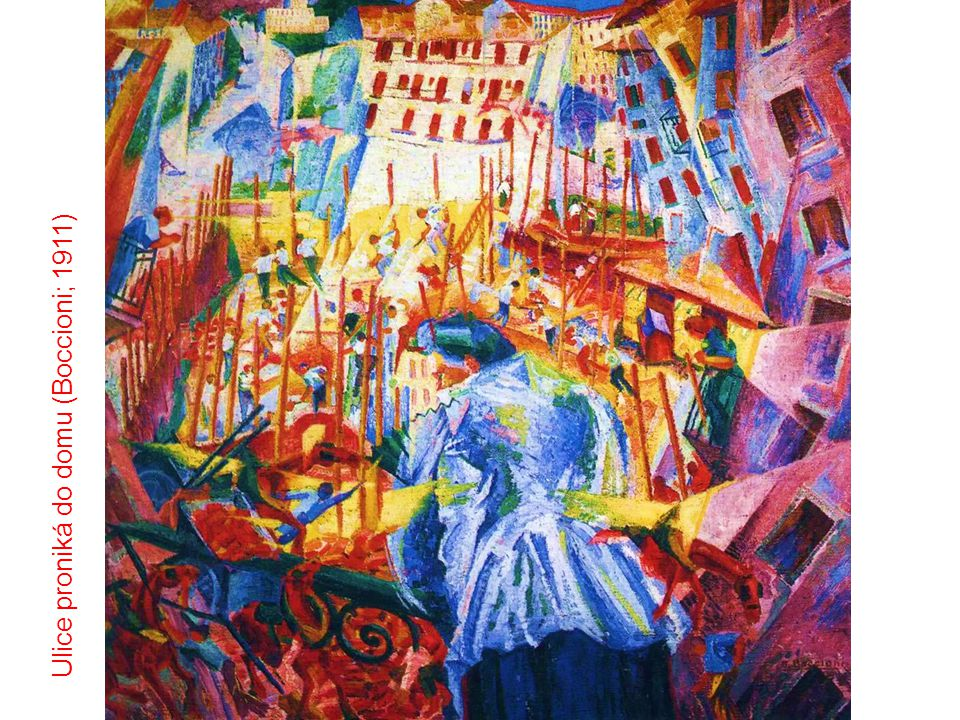 Ulice proniká do domu (Boccioni; 1911)