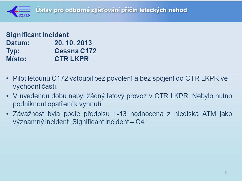 Significant Incident Datum: Typ:. Cessna C172 Místo: