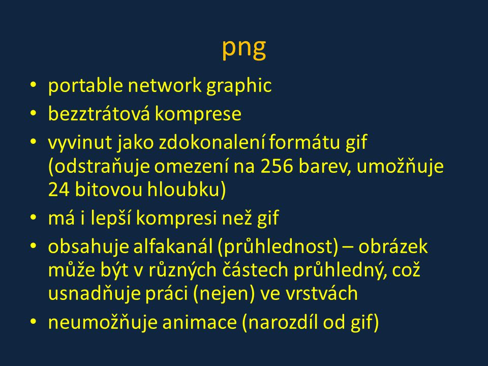 png portable network graphic bezztrátová komprese