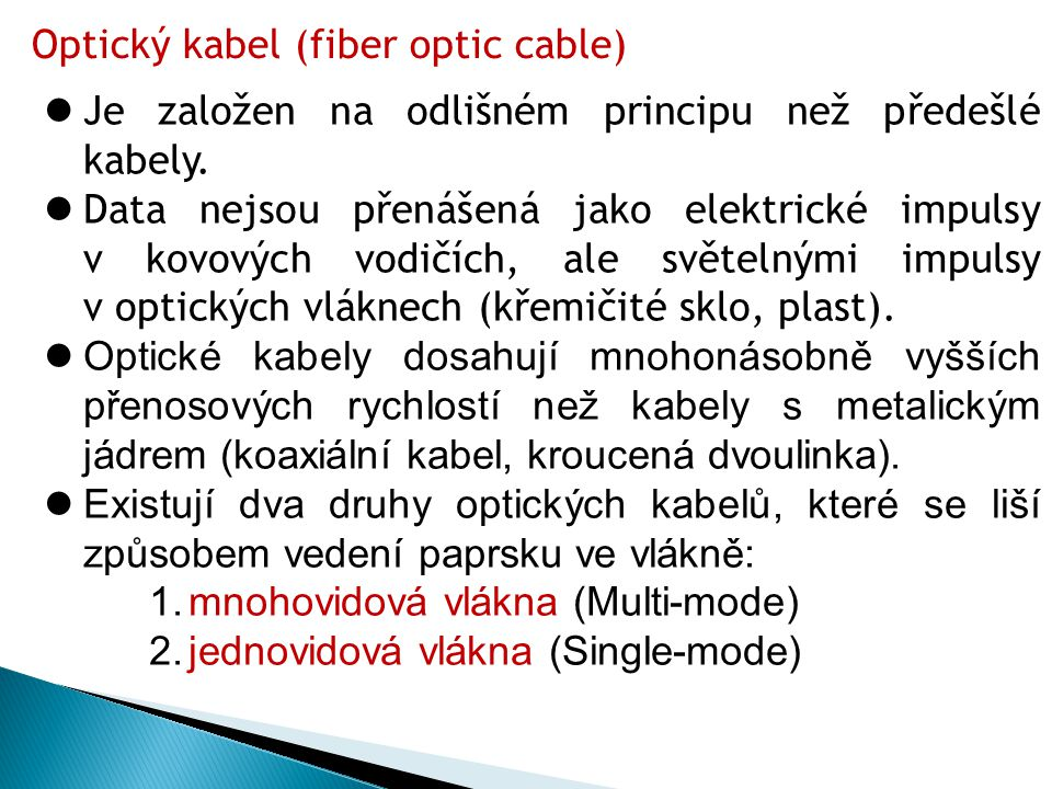 Optický kabel (fiber optic cable)
