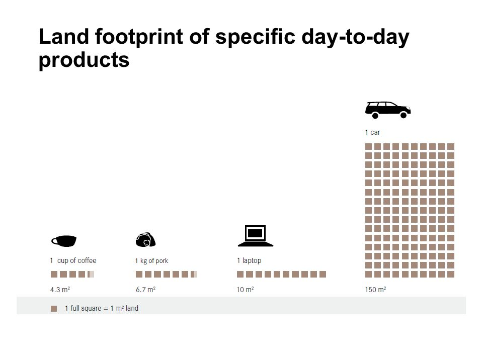 Land footprint of specific day-to-day products