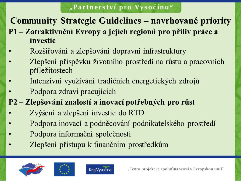 Community Strategic Guidelines – navrhované priority
