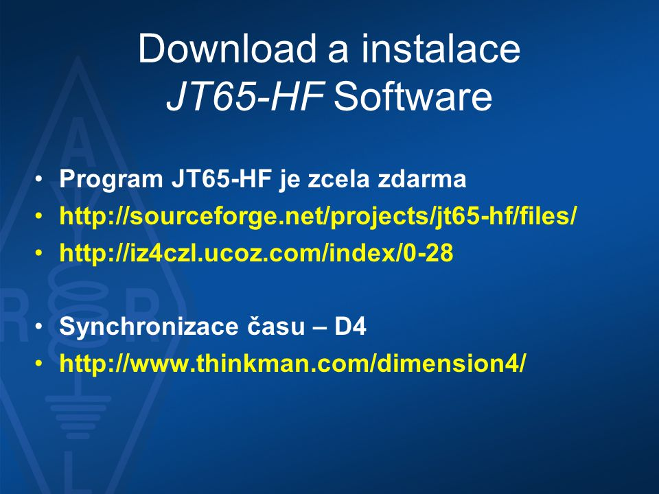 Download a instalace JT65-HF Software