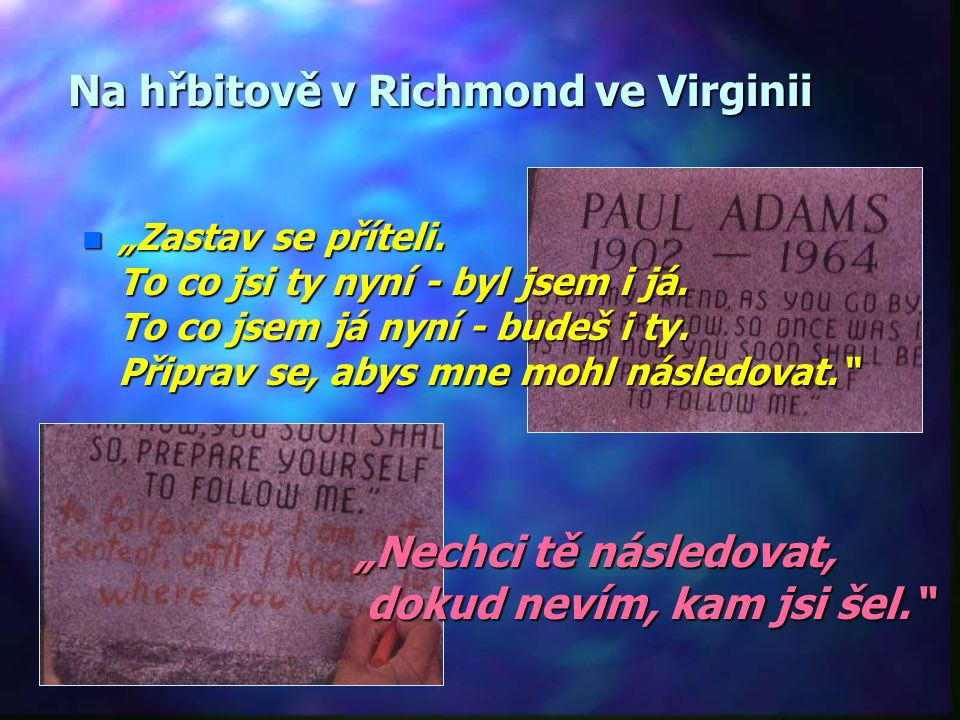 Na hřbitově v Richmond ve Virginii