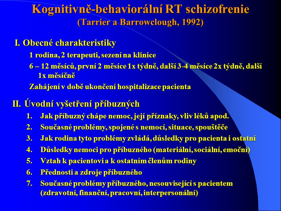 Kognitivně-behaviorální RT schizofrenie (Tarrier a Barrowclough, 1992)