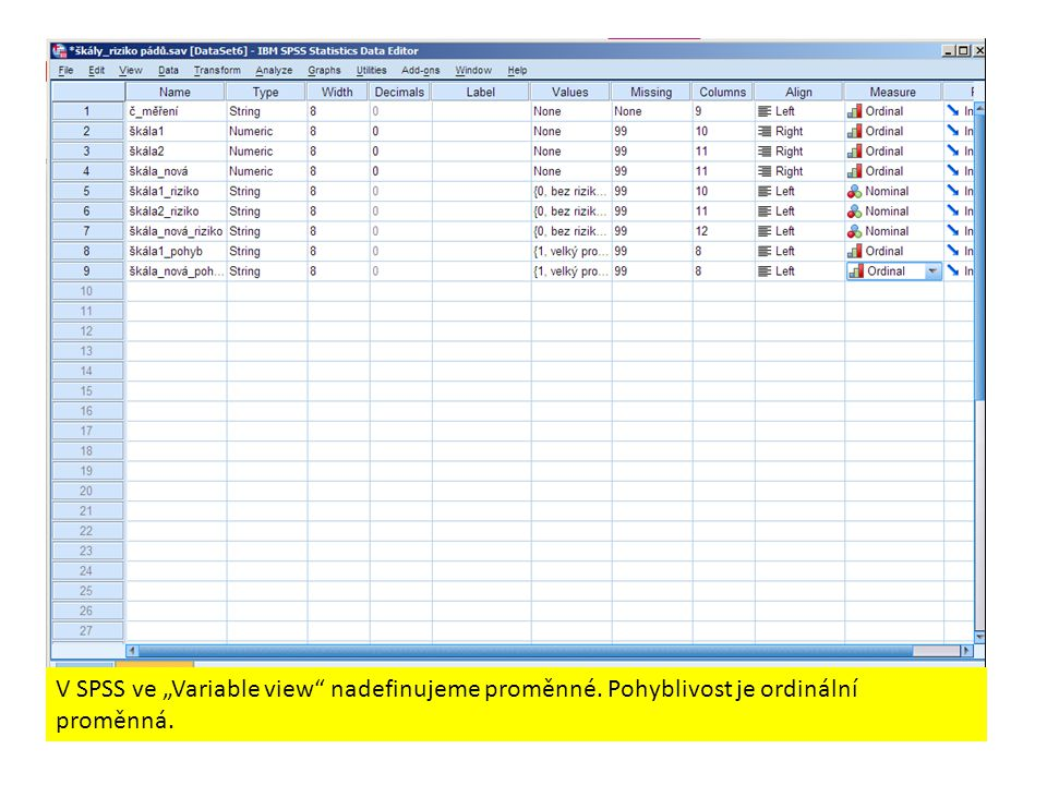 "V SPSS ve ""Variable view nadefinujeme proměnné"