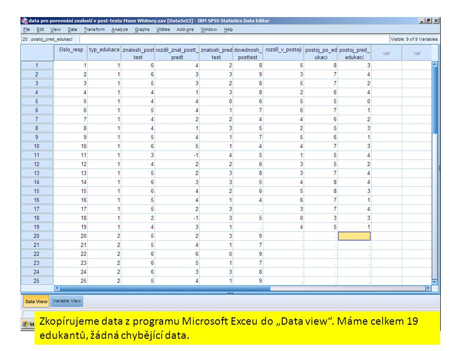 "Zkopírujeme data z programu Microsoft Exceu do ""Data view"