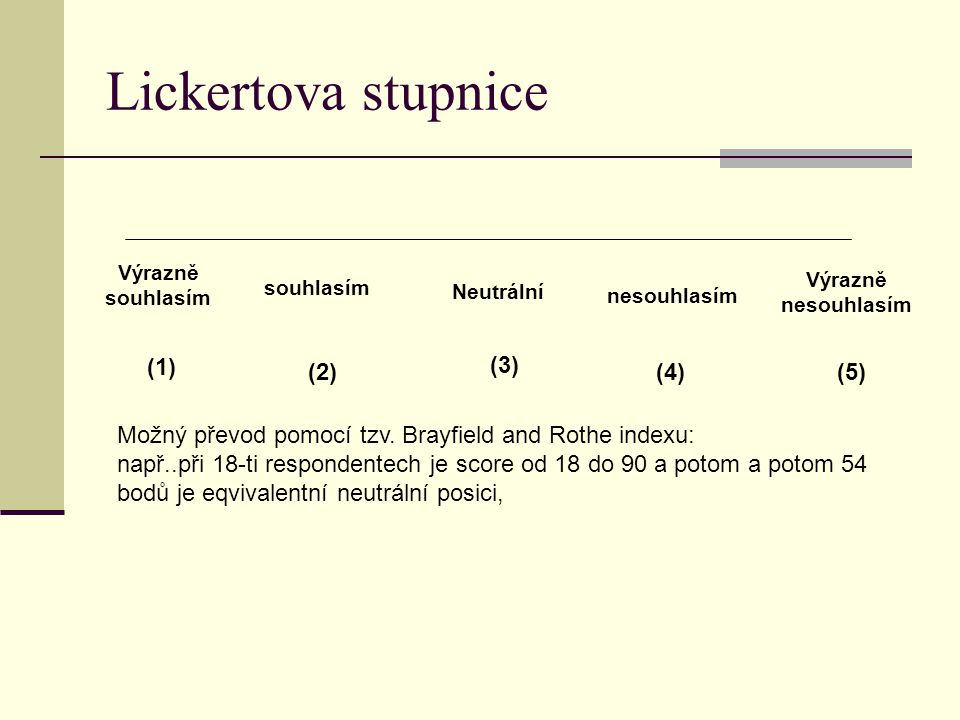 Lickertova stupnice (1) (3) (2) (4) (5)