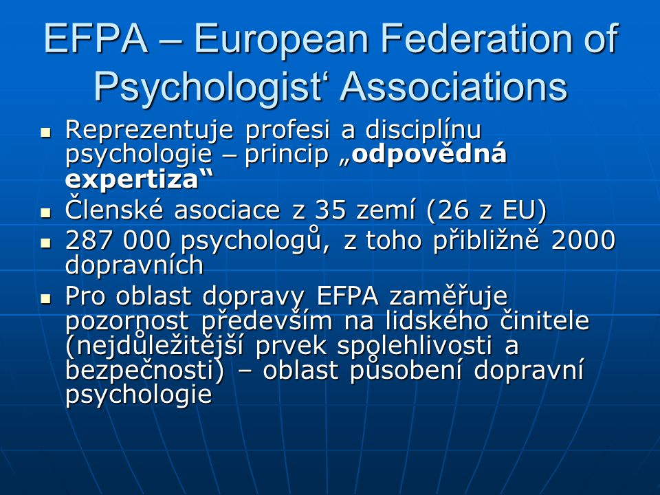 EFPA – European Federation of Psychologist' Associations