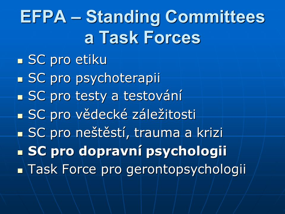 EFPA – Standing Committees a Task Forces
