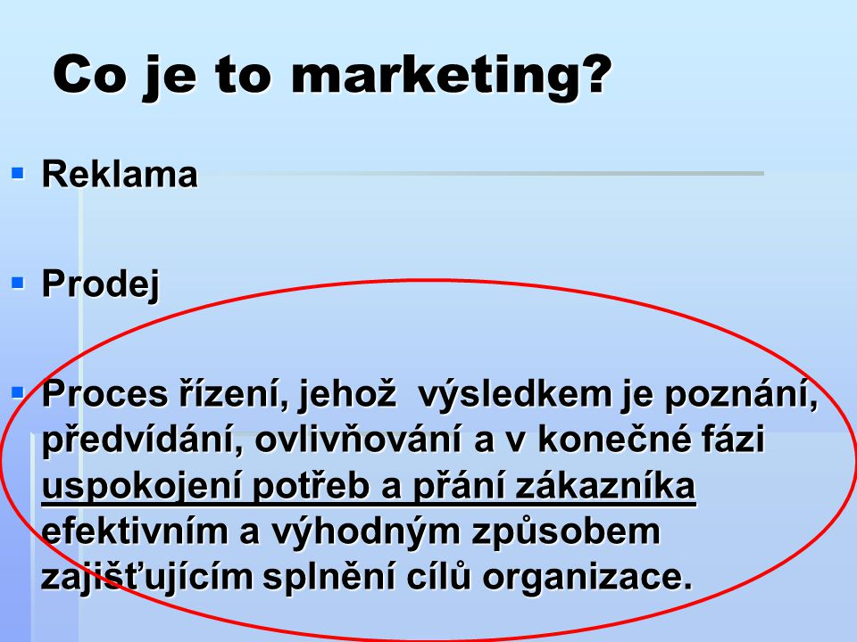 Co je to marketing Reklama Prodej