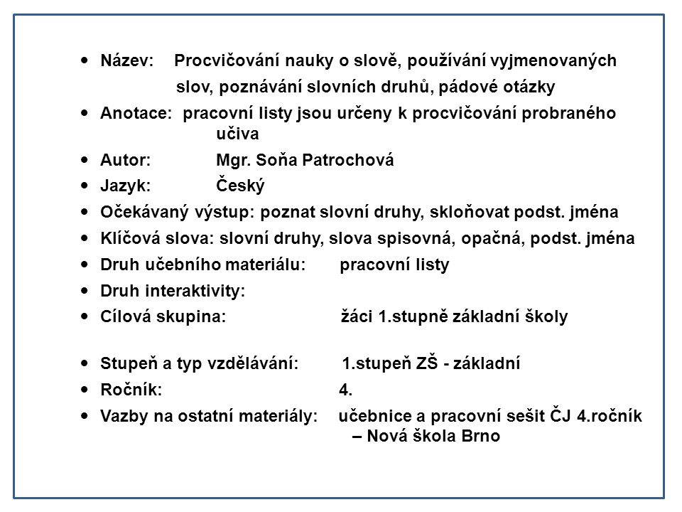 Procvicovaci Cviceni Nauka O Slove Vyjmenovana Slova Slovni